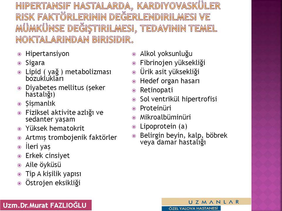 Hipertansiyon  Sigara  Lipid ( yağ ) metabolizması bozuklukları  Diyabetes mellitus (şeker hastalığı)  Şişmanlık  Fiziksel aktivite azlığı ve s