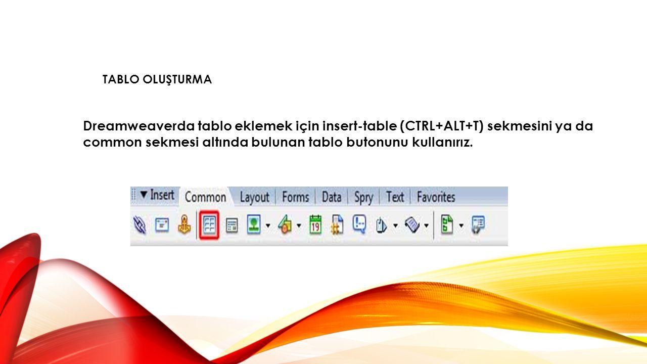 Dreamweaverda tablo eklemek için insert-table (CTRL+ALT+T) sekmesini ya da common sekmesi altında bulunan tablo butonunu kullanırız. TABLO OLUŞTURMA