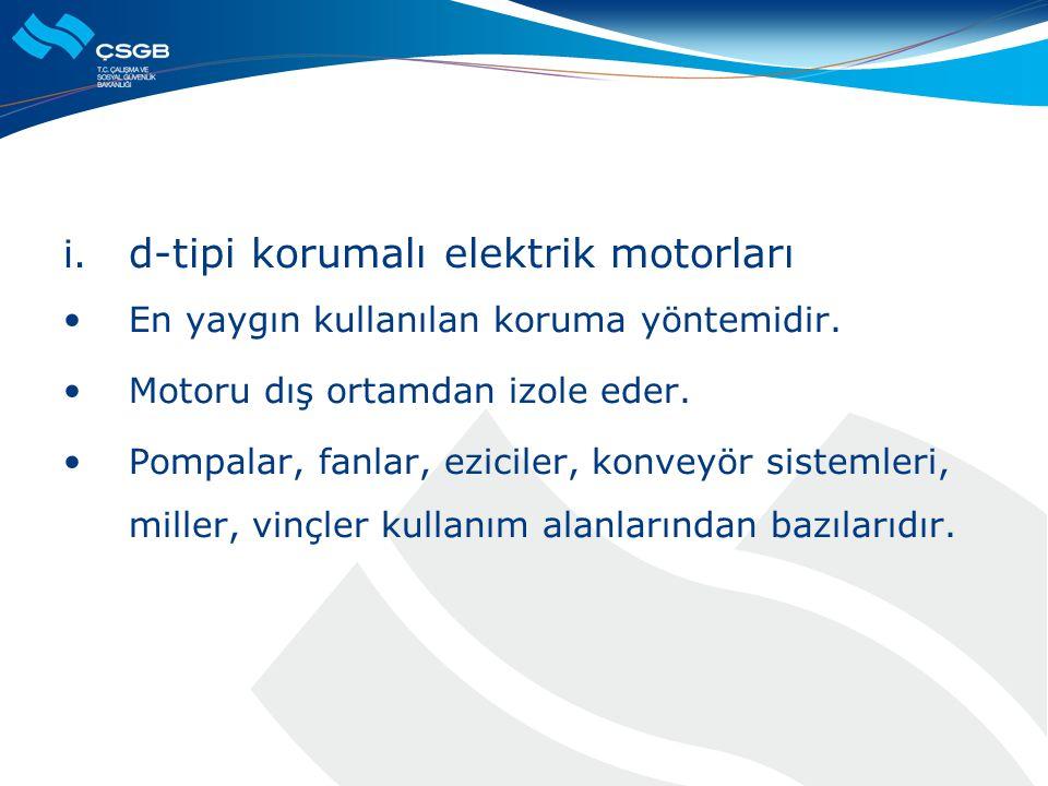 i. d-tipi korumalı elektrik motorları  En yaygın kullanılan koruma yöntemidir.  Motoru dış ortamdan izole eder.  Pompalar, fanlar, eziciler, konvey