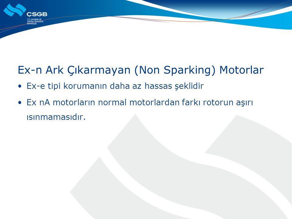 Ex-n Ark Çıkarmayan (Non Sparking) Motorlar  Ex-e tipi korumanın daha az hassas şeklidir  Ex nA motorların normal motorlardan farkı rotorun aşırı ıs