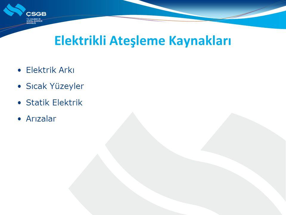 Elektrikli Ateşleme Kaynakları  Elektrik Arkı  Sıcak Yüzeyler  Statik Elektrik  Arızalar