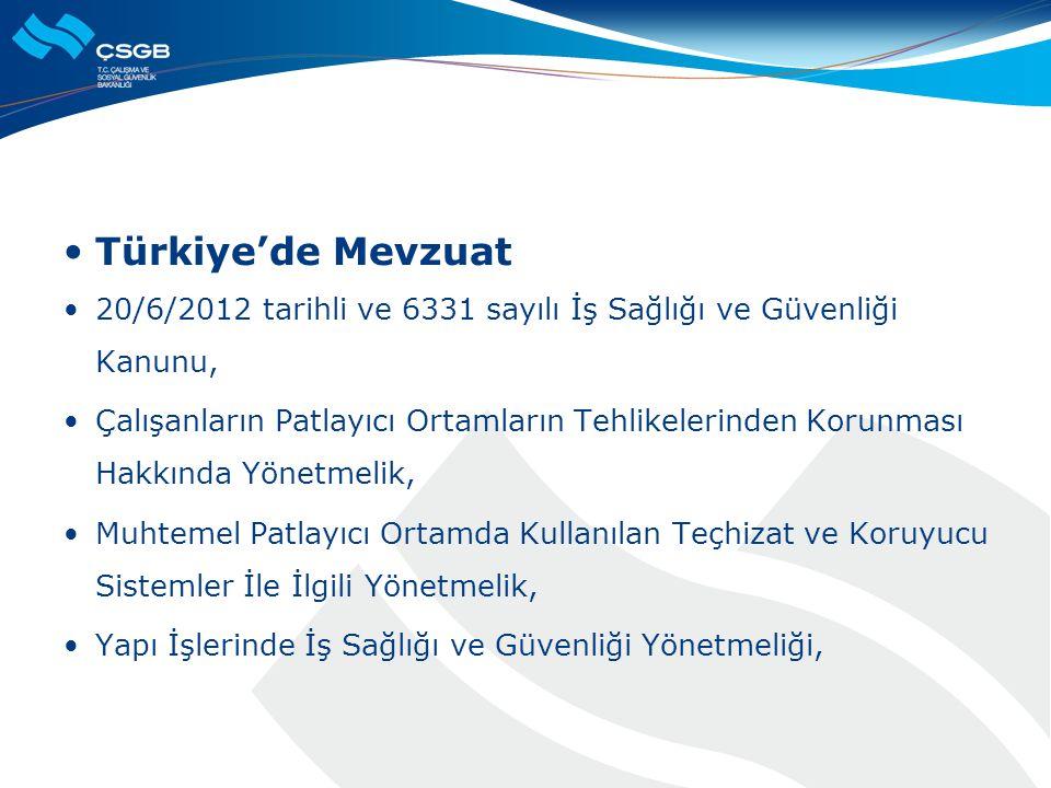  Türkiye'de Mevzuat  20/6/2012 tarihli ve 6331 sayılı İş Sağlığı ve Güvenliği Kanunu,  Çalışanların Patlayıcı Ortamların Tehlikelerinden Korunması