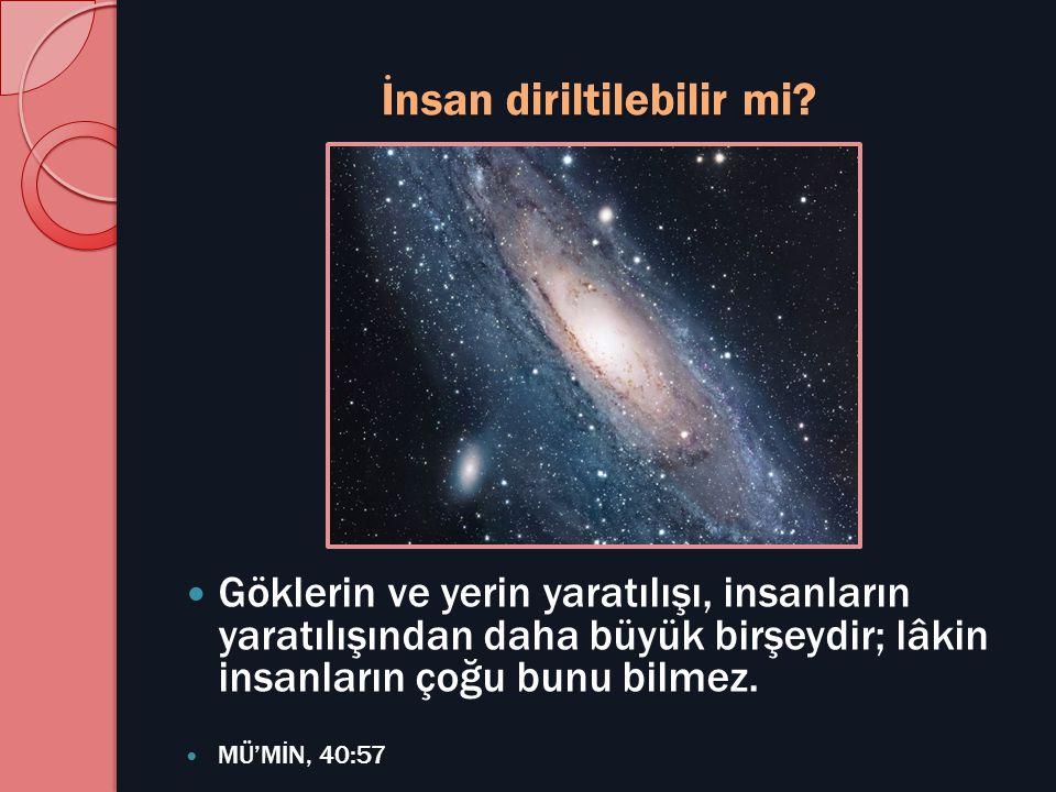 İnsan diriltilebilir mi?  Göklerin ve yerin yaratılışı, insanların yaratılışından daha büyük birşeydir; lâkin insanların çoğu bunu bilmez.  MÜ'MİN,