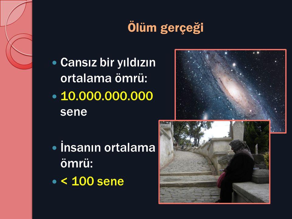 Ölüm gerçeği  Cansız bir yıldızın ortalama ömrü:  10.000.000.000 sene  İnsanın ortalama ömrü:  < 100 sene