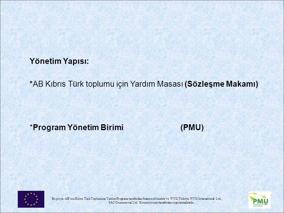 Bu proje, AB'nin Kıbrıs Türk Toplumuna Yardım Programı tarafından finanse edilmekte ve WYG Türkiye, WYG International Ltd., SAC Commercial Ltd.