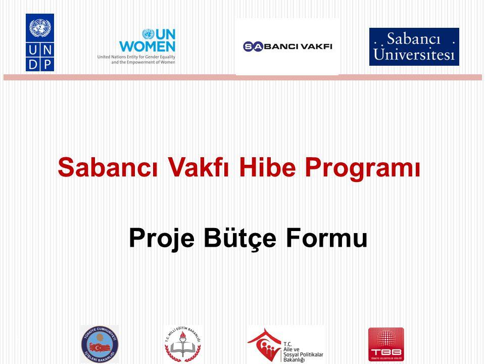 Proje Bütçe Formu Sabancı Vakfı Hibe Programı 1