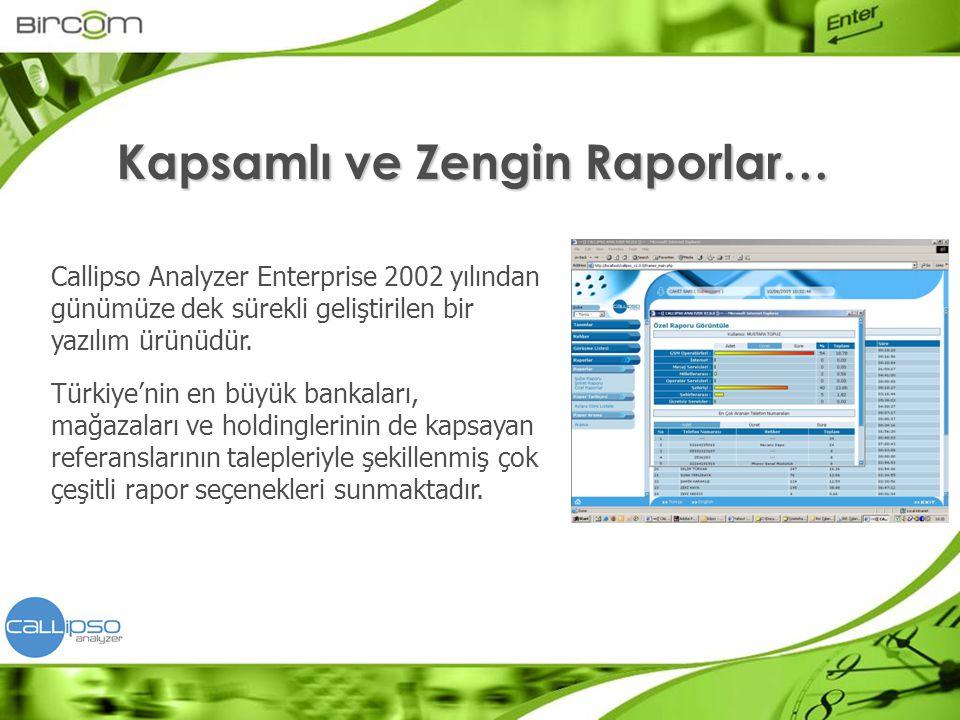 Callipso Analyzer Enterprise 2002 yılından günümüze dek sürekli geliştirilen bir yazılım ürünüdür. Türkiye'nin en büyük bankaları, mağazaları ve holdi