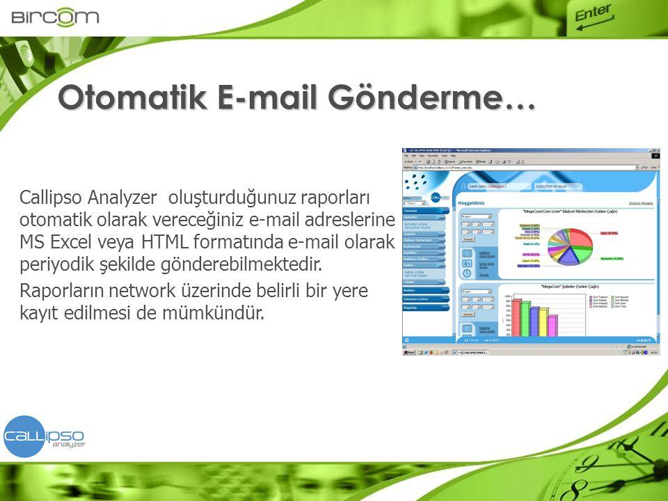 Callipso Analyzer oluşturduğunuz raporları otomatik olarak vereceğiniz e-mail adreslerine MS Excel veya HTML formatında e-mail olarak periyodik şekild