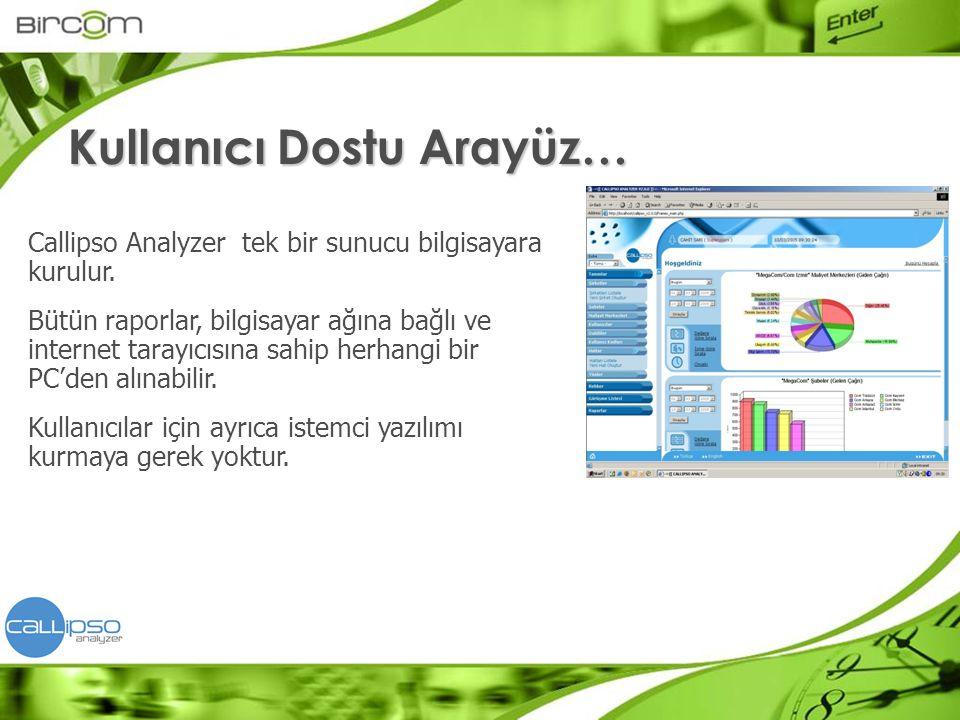 Callipso Analyzer tek bir sunucu bilgisayara kurulur. Bütün raporlar, bilgisayar ağına bağlı ve internet tarayıcısına sahip herhangi bir PC'den alınab