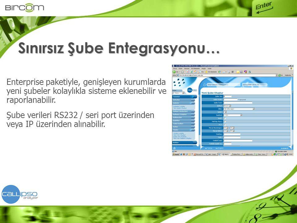 Enterprise paketiyle, genişleyen kurumlarda yeni şubeler kolaylıkla sisteme eklenebilir ve raporlanabilir. Şube verileri RS232 / seri port üzerinden v