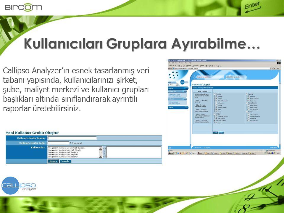 Callipso Analyzer'ın esnek tasarlanmış veri tabanı yapısında, kullanıcılarınızı şirket, şube, maliyet merkezi ve kullanıcı grupları başlıkları altında