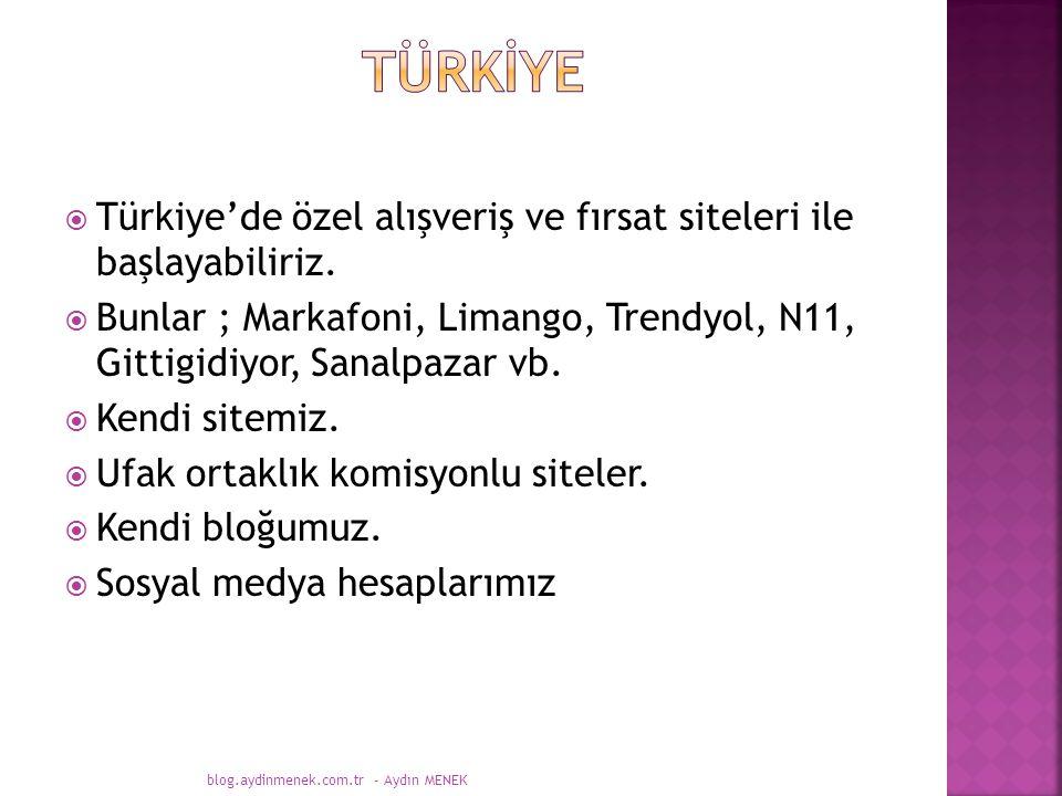  Türkiye'de özel alışveriş ve fırsat siteleri ile başlayabiliriz.