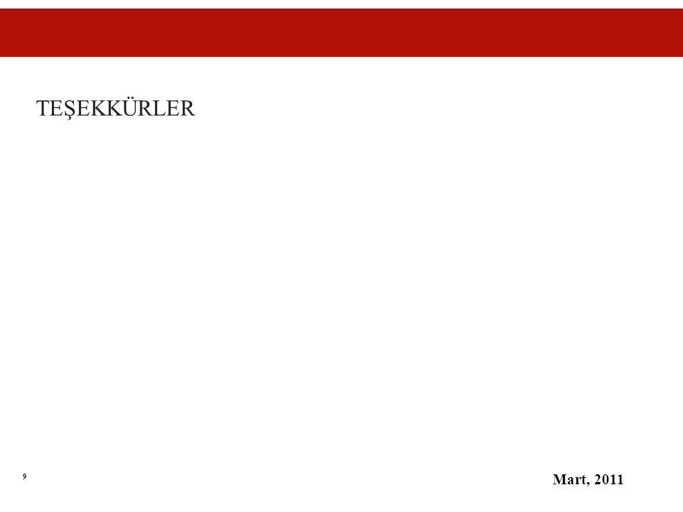 9 TEŞEKKÜRLER Mart, 2011