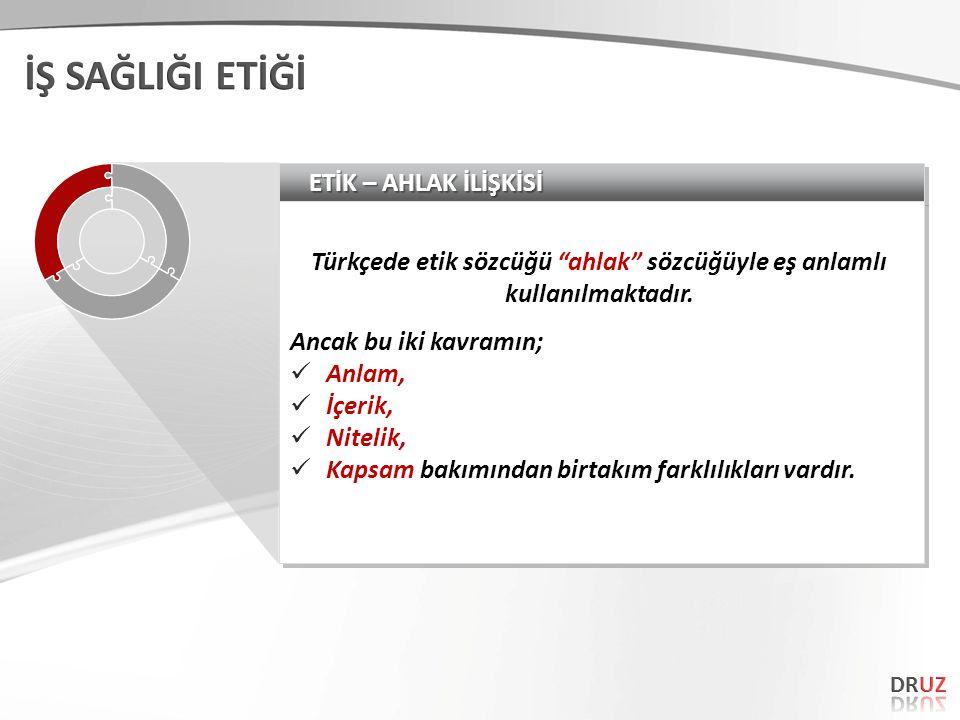 """ETİK – AHLAK İLİŞKİSİ Türkçede etik sözcüğü """"ahlak"""" sözcüğüyle eş anlamlı kullanılmaktadır. Ancak bu iki kavramın;  Anlam,  İçerik,  Nitelik,  Kap"""