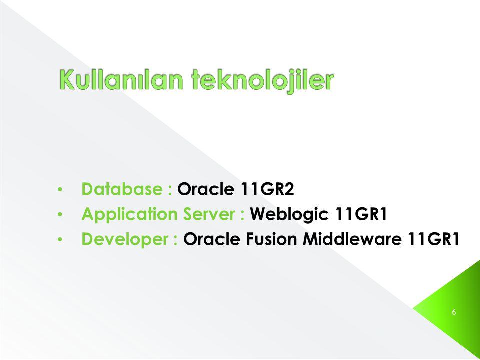 • Database : Oracle 11GR2 • Application Server : Weblogic 11GR1 • Developer : Oracle Fusion Middleware 11GR1 6