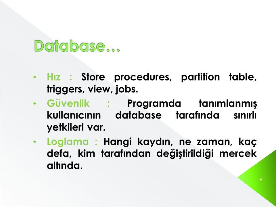 • Hız : Store procedures, partition table, triggers, view, jobs. • Güvenlik : Programda tanımlanmış kullanıcının database tarafında sınırlı yetkileri