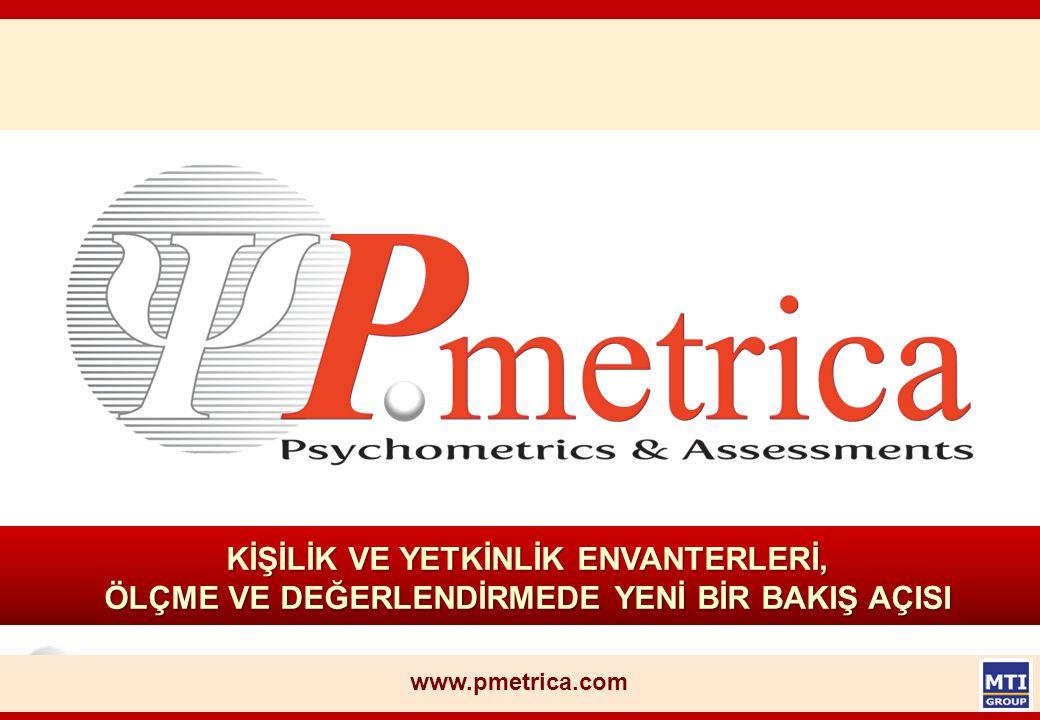© Copyright, P.metrica n Türkiye'de MTI GROUP bünyesinde yer alan P.metrica, onbeş yıldır Masters Training International tarafından çeşitli projelerde geliştirilerek kullanılmakta olan ve etkinliği binlerce uygulamayla kanıtlanmış l envanterleri, l kişilik analizlerini, l yetkinlik testlerini l psikometrik ölçüm araçlarını yeniden yorumlayarak online ortamda sunuyor.