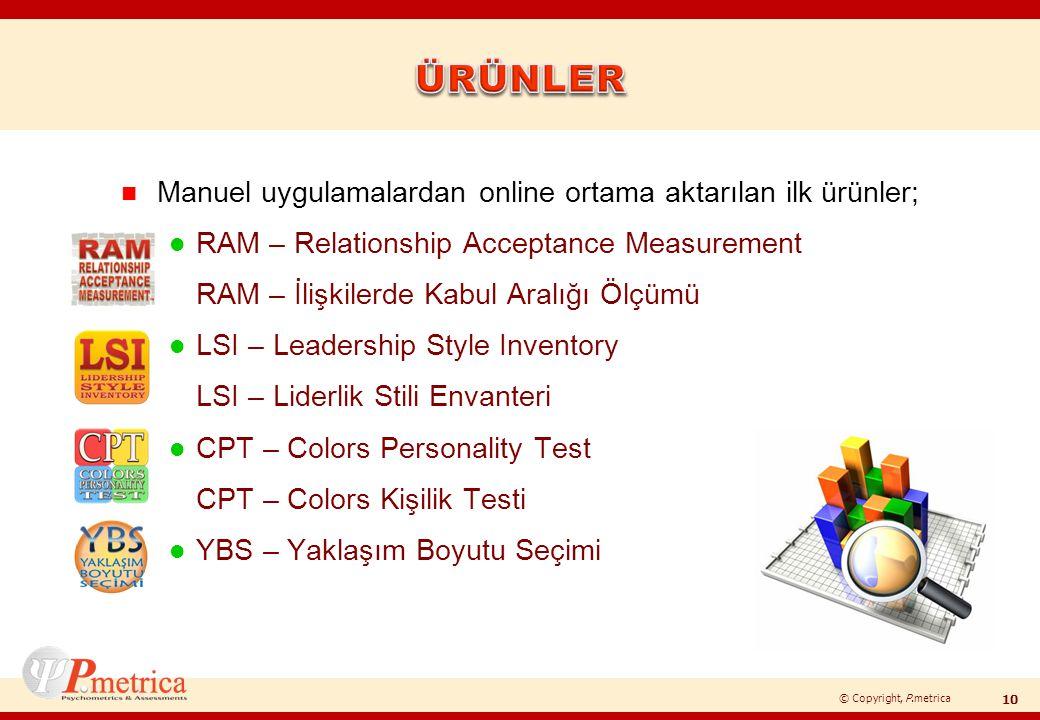 © Copyright, P.metrica n Manuel uygulamalardan online ortama aktarılan ilk ürünler; l RAM – Relationship Acceptance Measurement RAM – İlişkilerde Kabu