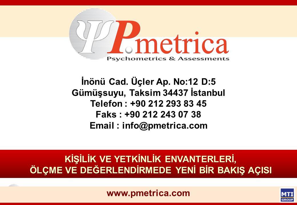© Copyright, P.metrica 32 KİŞİLİK VE YETKİNLİK ENVANTERLERİ, ÖLÇME VE DEĞERLENDİRMEDE YENİ BİR BAKIŞ AÇISI www.pmetrica.com İnönü Cad. Üçler Ap. No:12