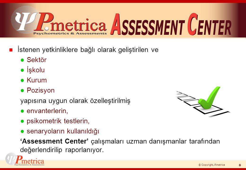 © Copyright, P.metrica n İstenen yetkinliklere bağlı olarak geliştirilen ve l Sektör l İşkolu l Kurum l Pozisyon yapısına uygun olarak özelleştirilmiş