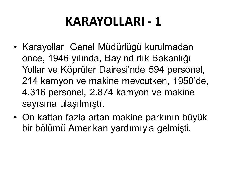 KARAYOLLARI - 1 •Karayolları Genel Müdürlüğü kurulmadan önce, 1946 yılında, Bayındırlık Bakanlığı Yollar ve Köprüler Dairesi'nde 594 personel, 214 kam