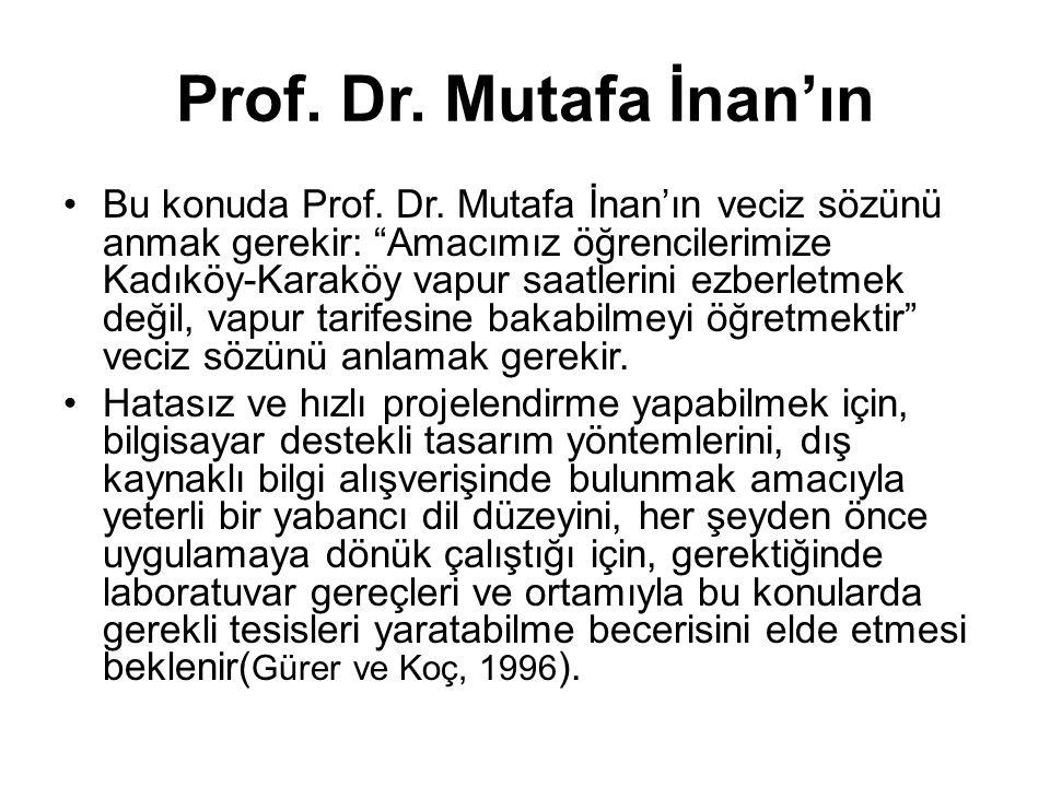 """Prof. Dr. Mutafa İnan'ın •Bu konuda Prof. Dr. Mutafa İnan'ın veciz sözünü anmak gerekir: """"Amacımız öğrencilerimize Kadıköy-Karaköy vapur saatlerini ez"""