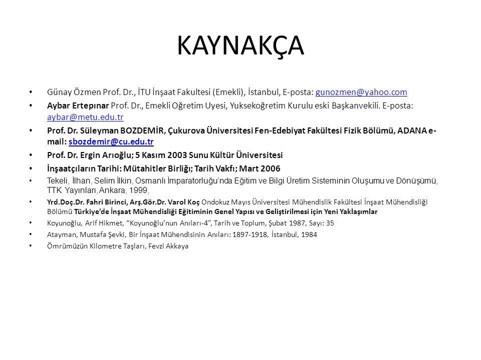 KAYNAKÇA • Günay Özmen Prof. Dr., İTU İnşaat Fakultesi (Emekli), İstanbul, E-posta: gunozmen@yahoo.comgunozmen@yahoo.com • Aybar Ertepınar Prof. Dr.,