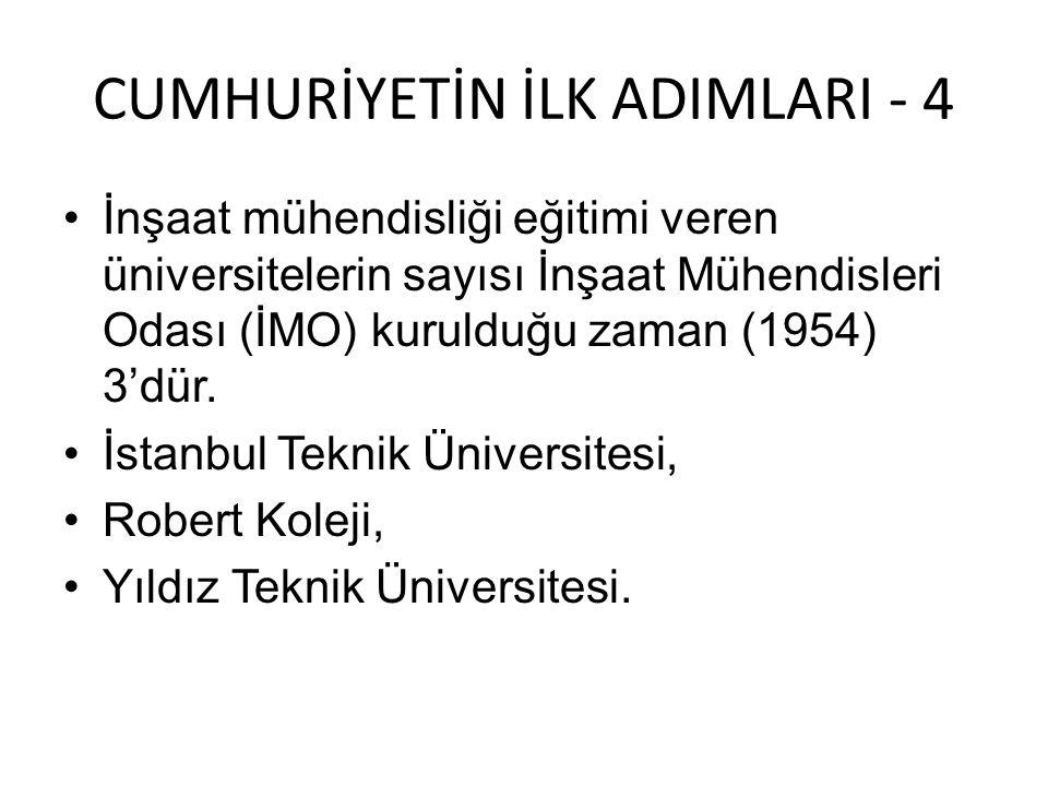CUMHURİYETİN İLK ADIMLARI - 4 •İnşaat mühendisliği eğitimi veren üniversitelerin sayısı İnşaat Mühendisleri Odası (İMO) kurulduğu zaman (1954) 3'dür.