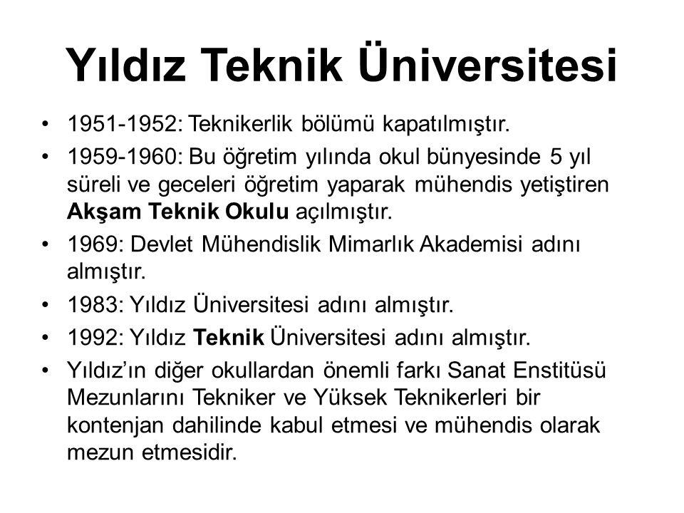 Yıldız Teknik Üniversitesi •1951-1952: Teknikerlik bölümü kapatılmıştır. •1959-1960: Bu öğretim yılında okul bünyesinde 5 yıl süreli ve geceleri öğret