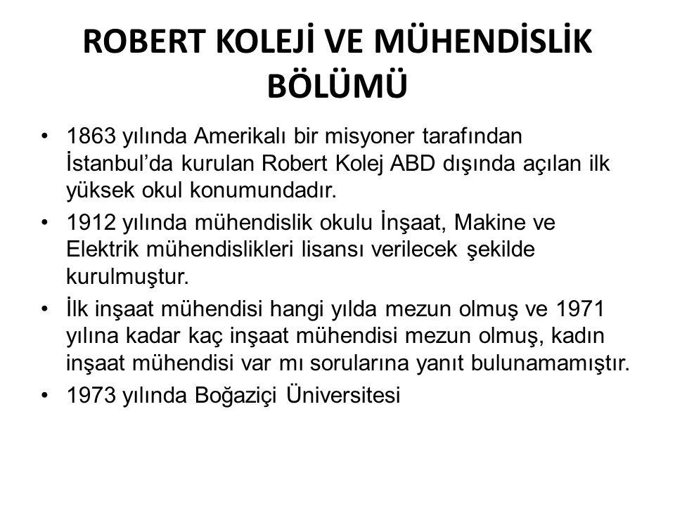 ROBERT KOLEJİ VE MÜHENDİSLİK BÖLÜMÜ •1863 yılında Amerikalı bir misyoner tarafından İstanbul'da kurulan Robert Kolej ABD dışında açılan ilk yüksek oku
