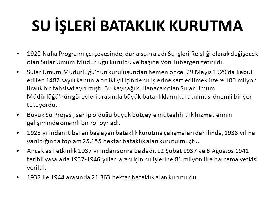 SU İŞLERİ BATAKLIK KURUTMA • 1929 Nafıa Programı çerçevesinde, daha sonra adı Su İşleri Reisliği olarak değişecek olan Sular Umum Müdürlüğü kuruldu ve