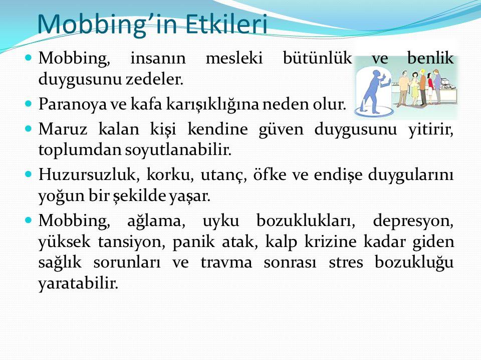 Mobbing'in Etkileri  Mobbing, insanın mesleki bütünlük ve benlik duygusunu zedeler.  Paranoya ve kafa karışıklığına neden olur.  Maruz kalan kişi k