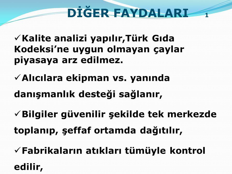  Kalite analizi yapılır,Türk Gıda Kodeksi'ne uygun olmayan çaylar piyasaya arz edilmez.