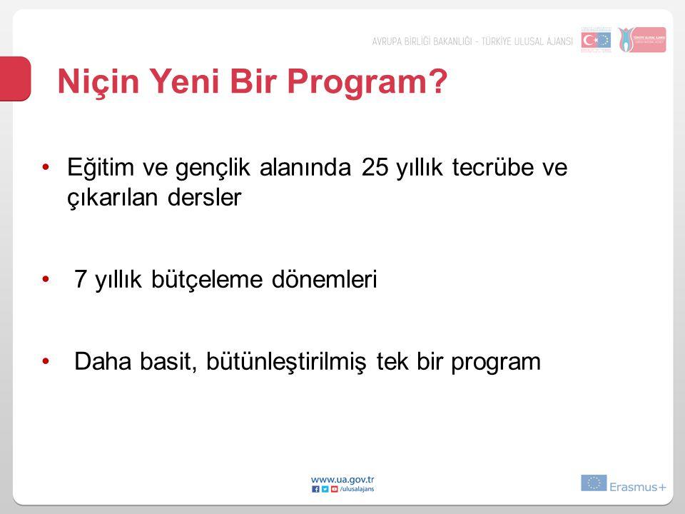 Niçin Yeni Bir Program? •Eğitim ve gençlik alanında 25 yıllık tecrübe ve çıkarılan dersler • 7 yıllık bütçeleme dönemleri • Daha basit, bütünleştirilm