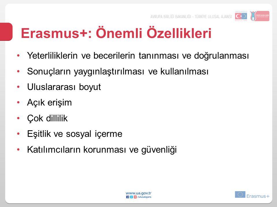 Erasmus+: Önemli Özellikleri •Yeterliliklerin ve becerilerin tanınması ve doğrulanması •Sonuçların yaygınlaştırılması ve kullanılması •Uluslararası bo