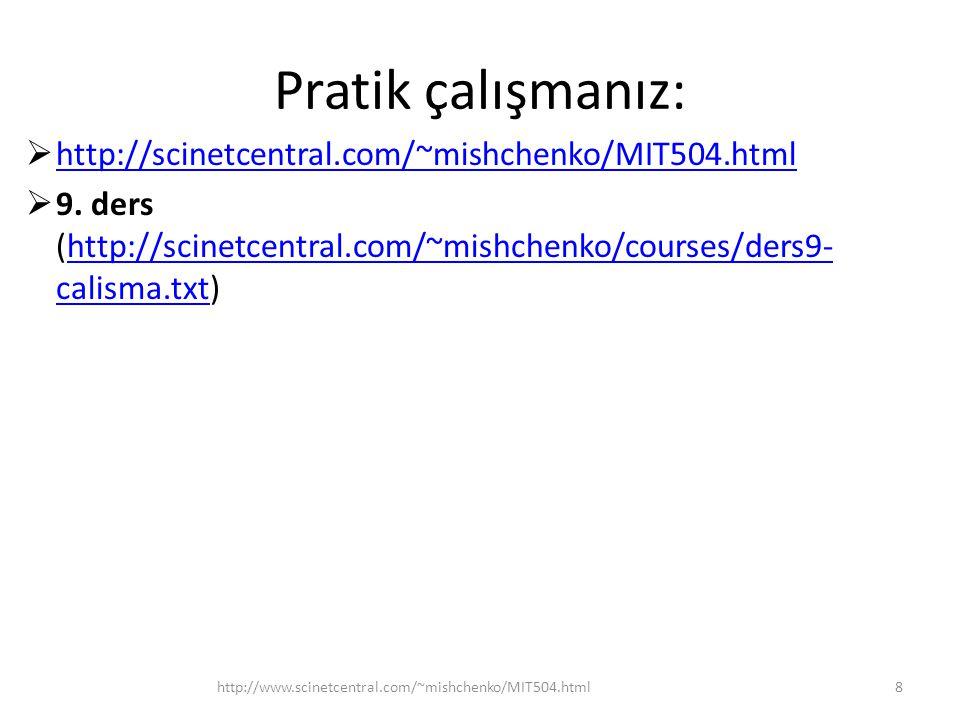 Pratik çalışmanız:  http://scinetcentral.com/~mishchenko/MIT504.html http://scinetcentral.com/~mishchenko/MIT504.html  9.