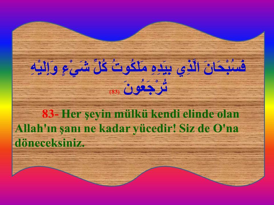 فَسُبْحَانَ الَّذِي بِيَدِهِ مَلَكُوتُ كُلِّ شَيْءٍ وَإِلَيْهِ تُرْجَعُونَ (83) 83- Her şeyin mülkü kendi elinde olan Allah'ın şanı ne kadar yücedir!