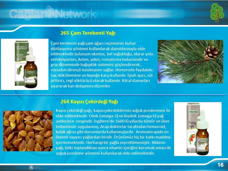 16 Çam terebenti yağı çam ağacı reçinesinin buhar distilasyonu yöntemi kullanılarak damıtılmasıyla elde edilmektedir.Solunum sıkıntısı, bel soğukluğu,