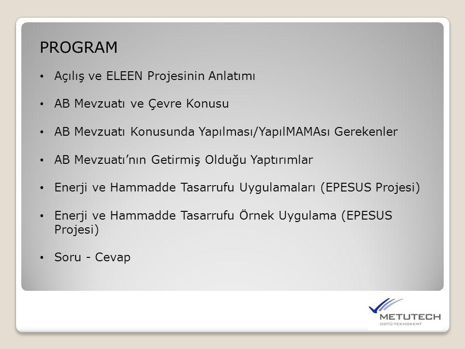 PROGRAM • Açılış ve ELEEN Projesinin Anlatımı • AB Mevzuatı ve Çevre Konusu • AB Mevzuatı Konusunda Yapılması/YapılMAMAsı Gerekenler • AB Mevzuatı'nın