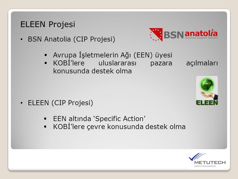 ELEEN Projesi • BSN Anatolia (CIP Projesi)  Avrupa İşletmelerin Ağı (EEN) üyesi  KOBİ'lere uluslararası pazara açılmaları konusunda destek olma • EL