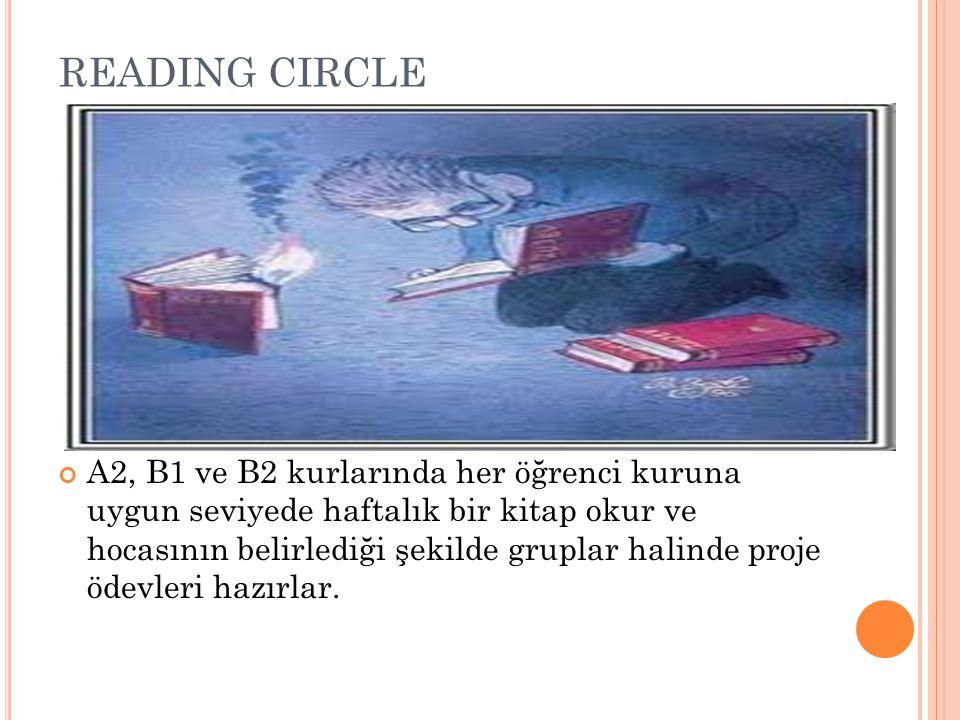 READING CIRCLE A2, B1 ve B2 kurlarında her öğrenci kuruna uygun seviyede haftalık bir kitap okur ve hocasının belirlediği şekilde gruplar halinde proj