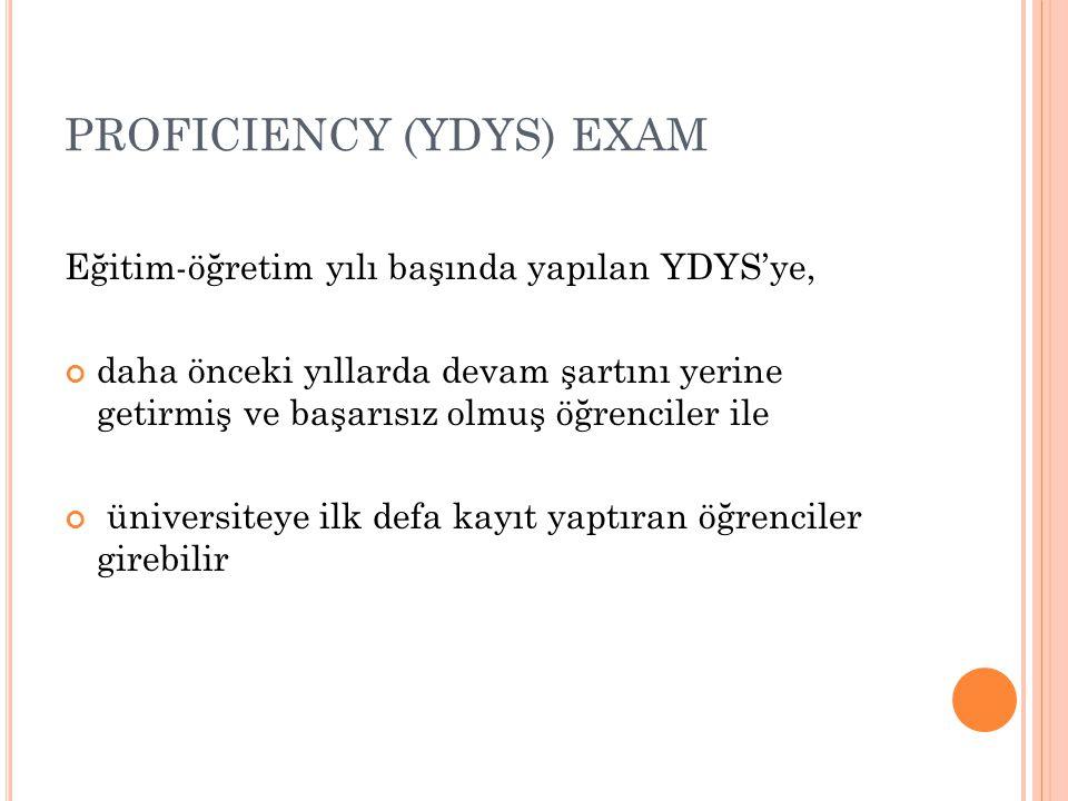 PROFICIENCY (YDYS) EXAM Eğitim-öğretim yılı başında yapılan YDYS'ye, daha önceki yıllarda devam şartını yerine getirmiş ve başarısız olmuş öğrenciler