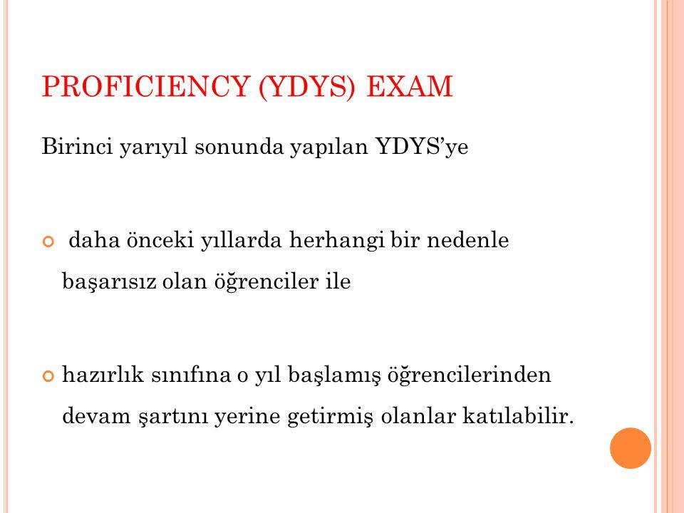 PROFICIENCY (YDYS) EXAM Birinci yarıyıl sonunda yapılan YDYS'ye daha önceki yıllarda herhangi bir nedenle başarısız olan öğrenciler ile hazırlık sınıf