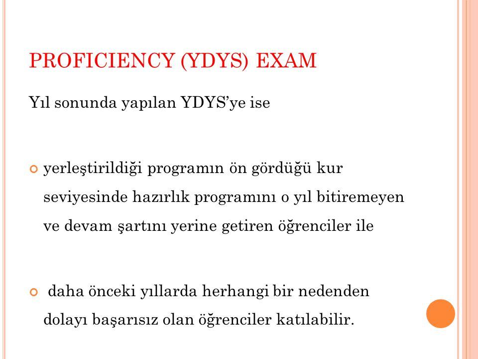 PROFICIENCY (YDYS) EXAM Yıl sonunda yapılan YDYS'ye ise yerleştirildiği programın ön gördüğü kur seviyesinde hazırlık programını o yıl bitiremeyen ve