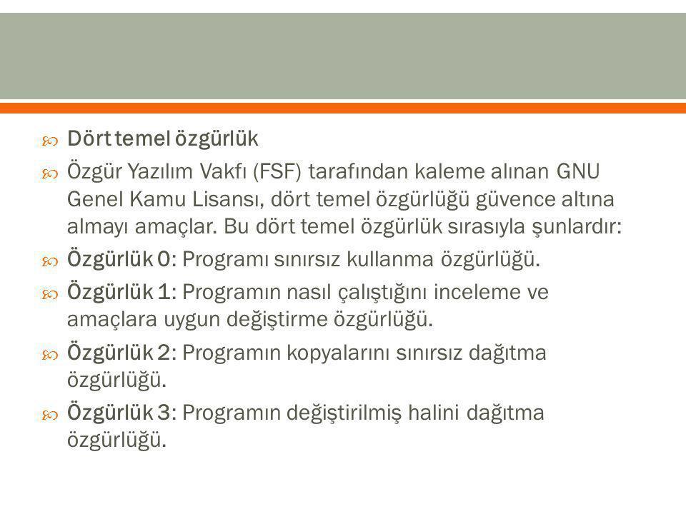  Dört temel özgürlük  Özgür Yazılım Vakfı (FSF) tarafından kaleme alınan GNU Genel Kamu Lisansı, dört temel özgürlüğü güvence altına almayı amaçlar.