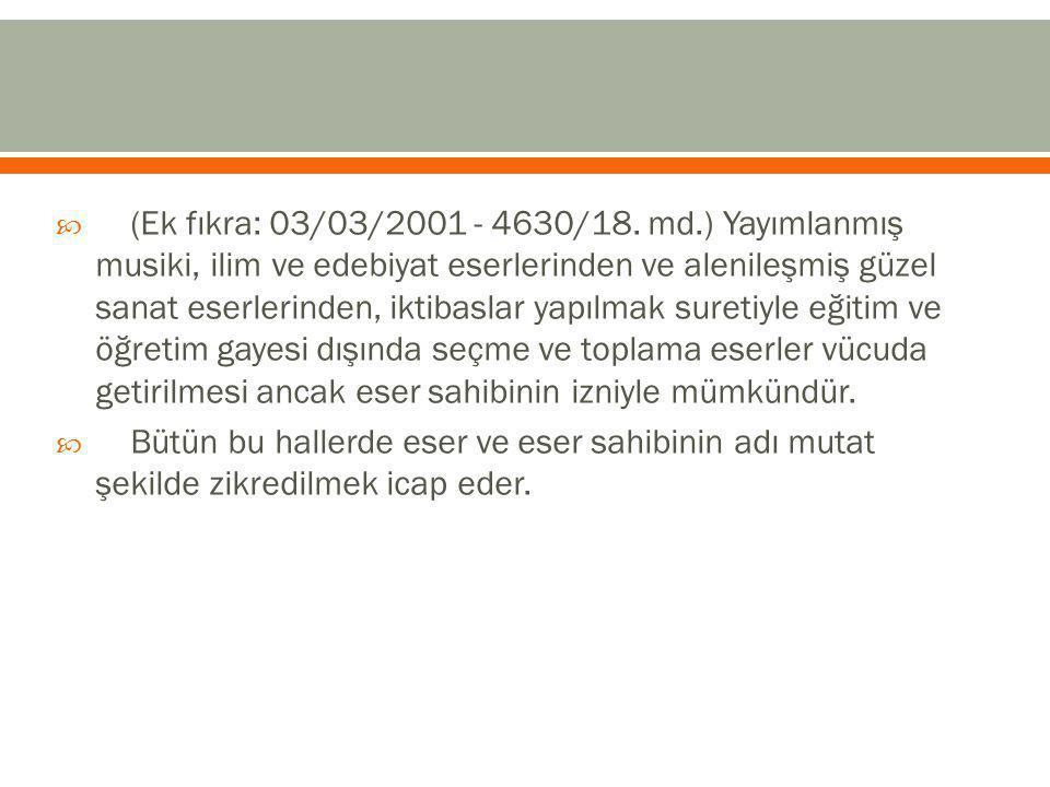  (Ek fıkra: 03/03/2001 - 4630/18.