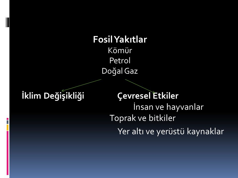 Fosil Yakıtlar Kömür Petrol Doğal Gaz İklim Değişikliği Çevresel Etkiler İnsan ve hayvanlar Toprak ve bitkiler Yer altı ve yerüstü kaynaklar