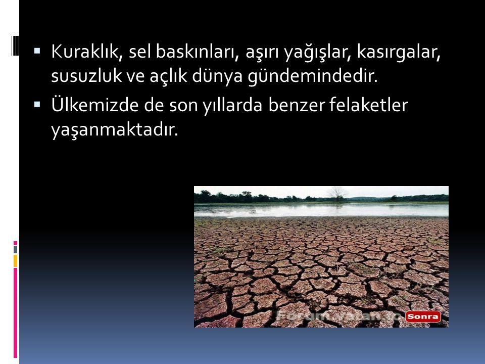  Kuraklık, sel baskınları, aşırı yağışlar, kasırgalar, susuzluk ve açlık dünya gündemindedir.  Ülkemizde de son yıllarda benzer felaketler yaşanmakt