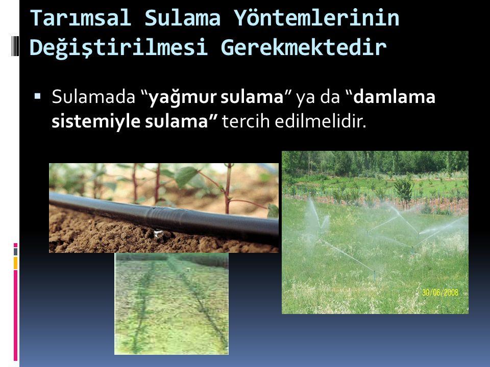 """Tarımsal Sulama Yöntemlerinin Değiştirilmesi Gerekmektedir  Sulamada """"yağmur sulama"""" ya da """"damlama sistemiyle sulama"""" tercih edilmelidir."""