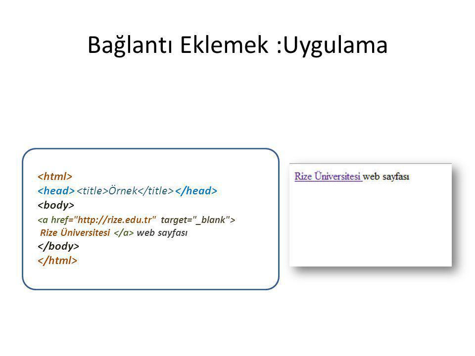Bağlantı Eklemek :Uygulama Örnek Rize Üniversitesi web sayfası